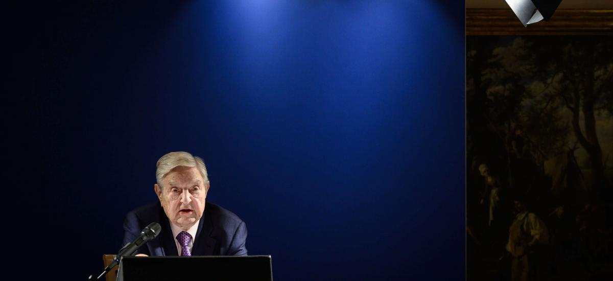 Hungarian-born US investor and philanthropist George Soros delivers a speech on the sideline of the World Economic Forum (WEF) annual meeting, on January 24, 2019 in Davos, eastern Switzerland. (Photo by Fabrice COFFRINI / AFP)