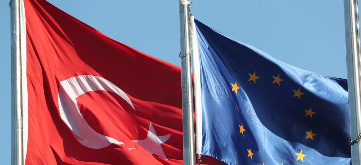 Flags of Turkey and the European Union