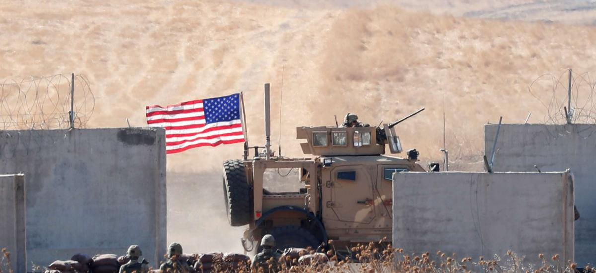 A U.S. military vehicle is pictured behind the Turkish border walls during a joint U.S.-Turkey patrol in northern Syria, as it is pictured from near the Turkish town of Akcakale, Turkey, September 8, 2019. REUTERS/Murad Sezer