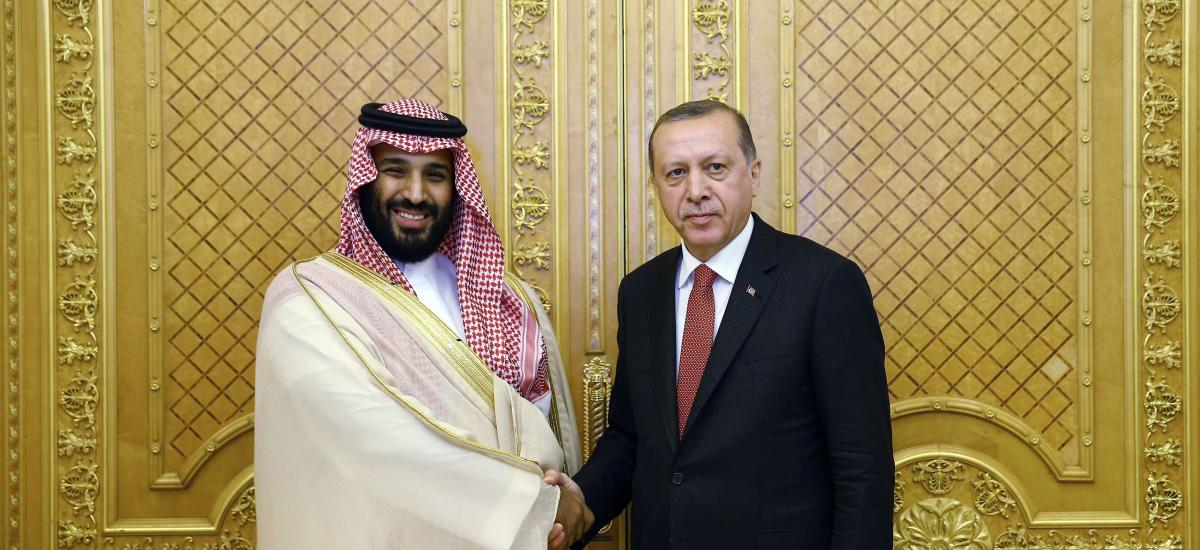 Turkey's President Recep Tayyip Erdogan, right, shakes hands with Saudi Crown Prince Mohammed bin Salman, prior to their meeting in Jiddah, Saudi Arabia, Sunday, July, 23, 2017. AP