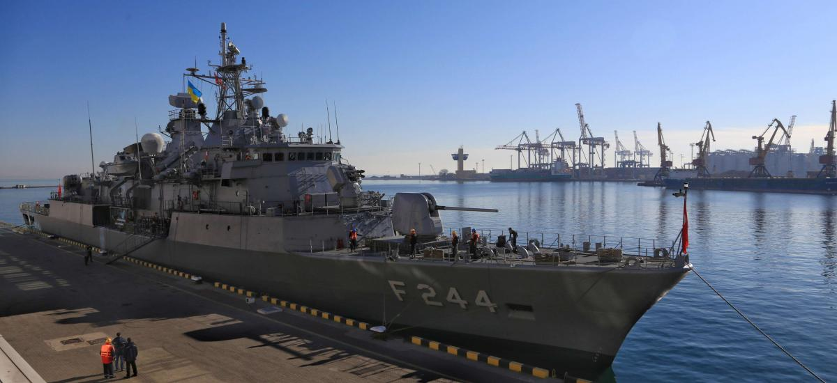 06 March 2019, Ukraine, Odesa: Turkish Navy's TCG Barbaros (F-244) frigate moored at a berth at the Odesa Sea Port.
