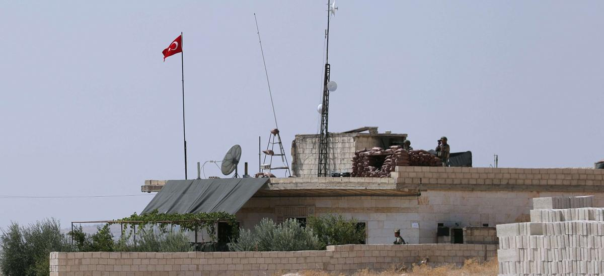 In this file photo taken on September 12, 2019 shows a Turkish military observation point near the town of Maar Hitat in Syria's northern Idlib province.