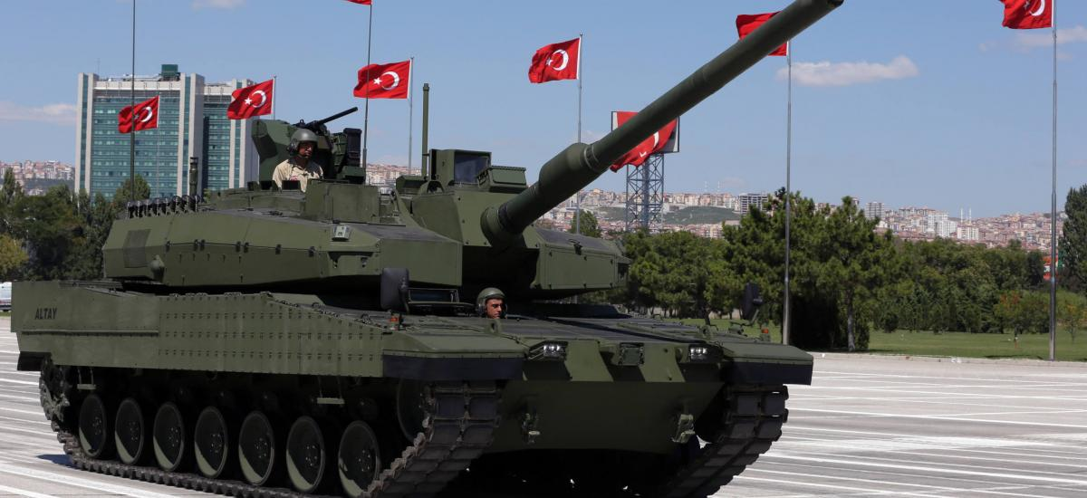 Turkey's first military tank, the Altay, seen during a military parade on Victory Day in Ankara, Turkey, Sunday, Aug. 30, 2015. Turkish army's 93-year-old victory over Greece was considered crucial in Turkish Independence War and the foundation of modern Turkish republic. (AP Photo/Burhan Ozbilici)