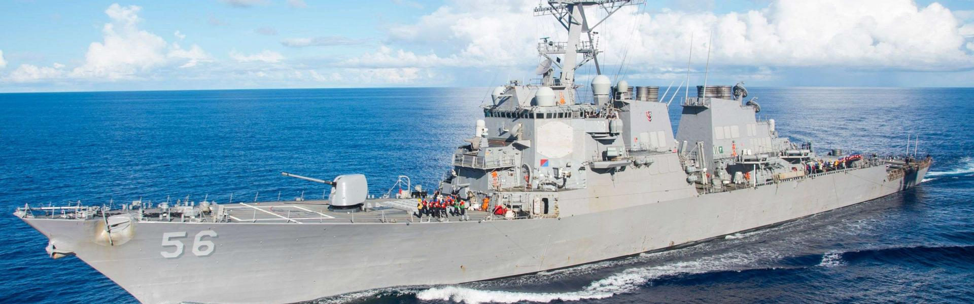 US Navy file photo taken on August 17, 2016 shows the Arleigh Burke-class guided-missile destroyer USS John S. McCain in the Pacific Ocean.