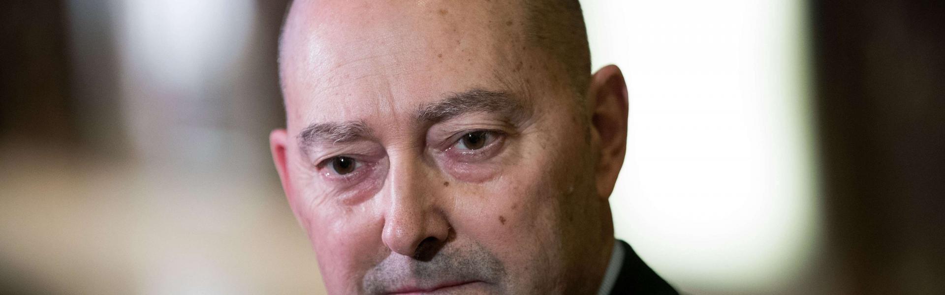 James 'Jim' Stavridis, retired U.S. Navy admiral and the current dean of the Fletcher School of Law and Diplomacy at Tufts University, speaks to reporters at Trump Tower, December 8, 2016 in New York City. Drew Angerer/Getty Images/AFP