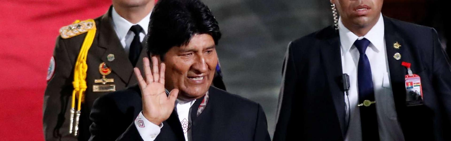Bolivia's President Evo Morales arrives prior to Venezuelan President Nicolas Maduro's ceremonial swearing-in for his second presidential term, at the Supreme Court in Caracas, Venezuela January 10, 2019. REUTERS/Carlos Garcia Rawlins