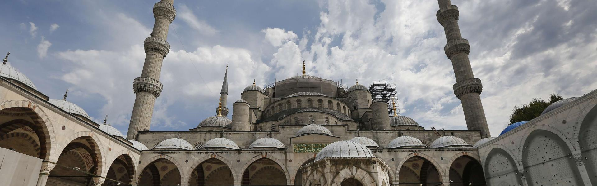 Tourists visit the iconic Sultan Ahmed Mosque, better known as the Blue Mosque, in the historic Sultanahmet district of Istanbul, Friday, Aug. 17, 2018. AP/Pitarakis
