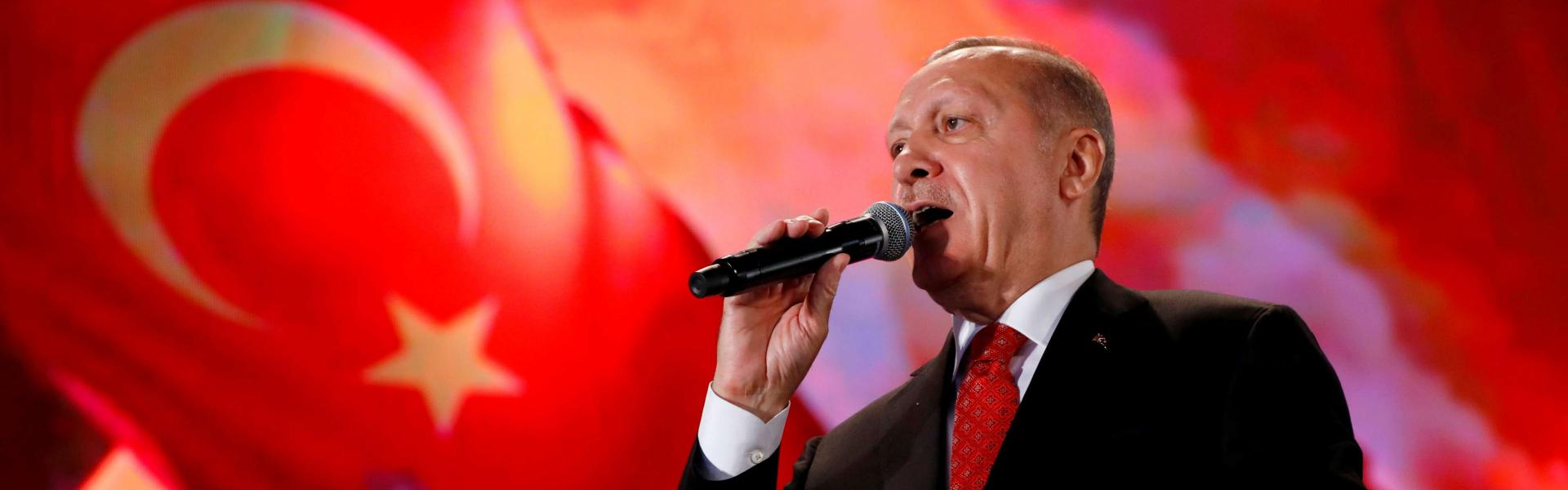 Turkish President Tayyip Erdogan addresses his supporters during a ceremony marking the third anniversary of the attempted coup at Ataturk Airport in Istanbul, Turkey, July 15, 2019. REUTERS/Murad Sezer