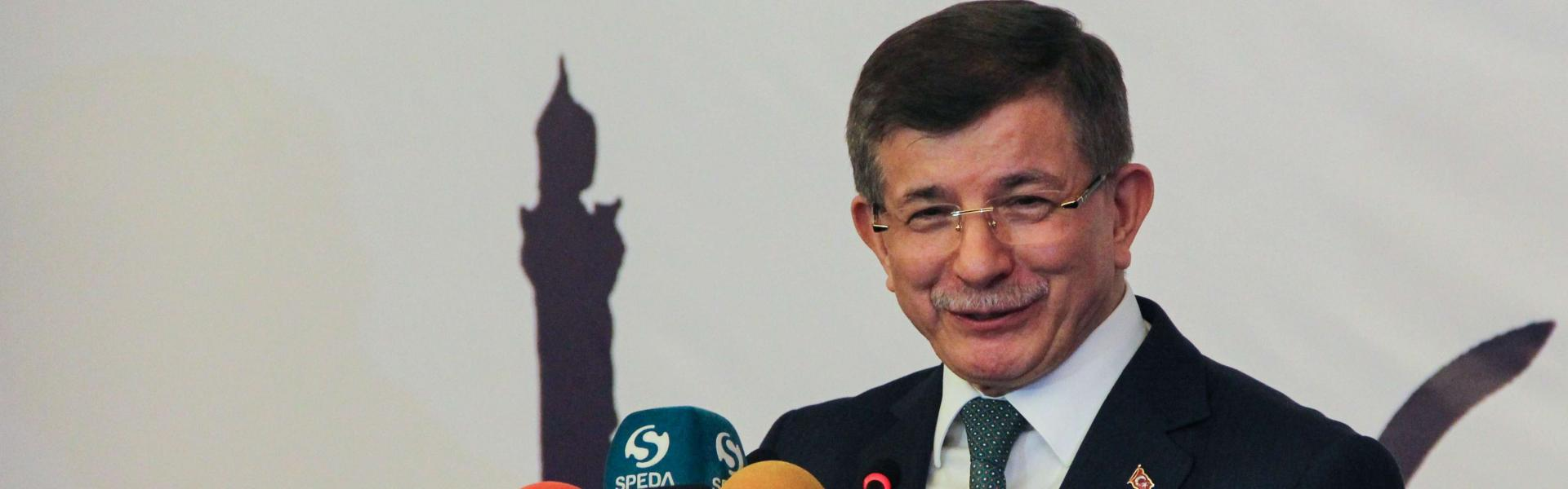 Former prime minister Ahmet Davutoglu speaks during the holy month of Ramadan in Diyarbakir on May 27, 2019. (Photo by Ilyas AKENGIN / AFP)