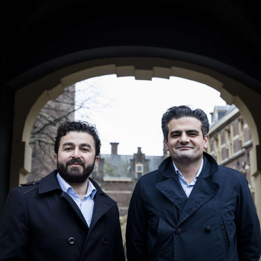 "Leader of DENK (""think"" in Dutch), the country's first party led by immigrants, Tunahan Kuzu (R) and Selcuk Ozturk pose at the Binnenhof in The Hague, on February 23, 2017. AFP PHOTO / ANP / Bart Maat"