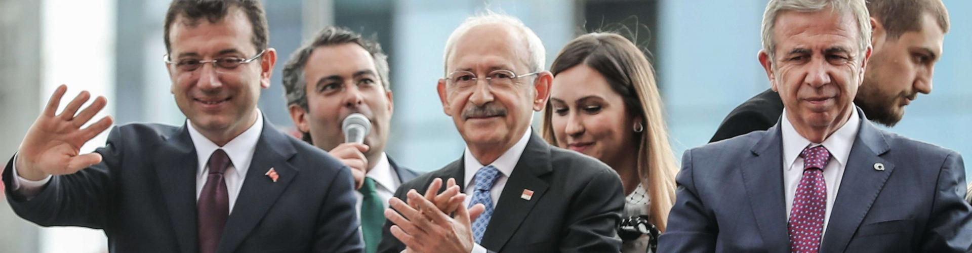 Turkey's main opposition Republican People's Party (CHP) leader Kemal Kilicdaroglu (C), Mansur Yavas (R) and Ekrem Imamoglu (L) who respectively claim mayoral elections victory in Ankara and Istanbul. Altan/AFP